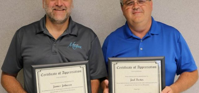 Mayor Presents Foster and Johnson Appreciation Certificates Upon Retiring